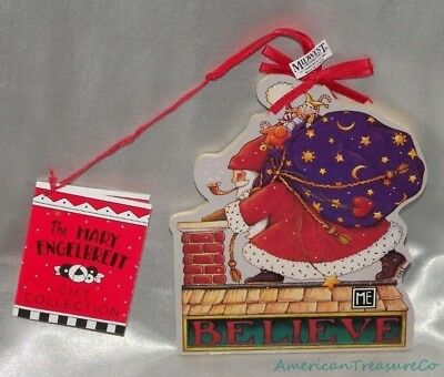 """NEW Rare MIDWEST IMPORTERS 5"""" Wooden MARY ENGELBREIT SANTA BELIEVE Ornament"""