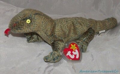 "New 1999 TY BEANIE BABIES Plush 10"" Spotted SCALY The LIZARD w/Golden Eyes"