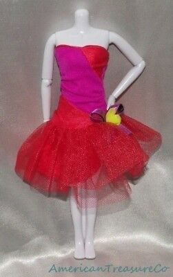 Barbie Fashions RED & BERRY COLOR BLOCKED TUTU Strapless Prom Gown Party Dress