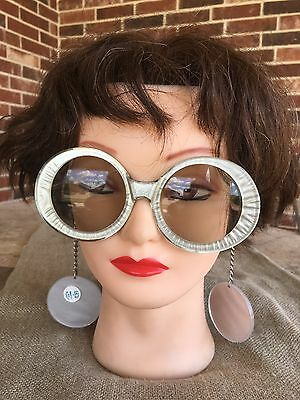 Fembot SILVER 1960's Vintage Mod Atomic Sunglasses With Earrings on Chain