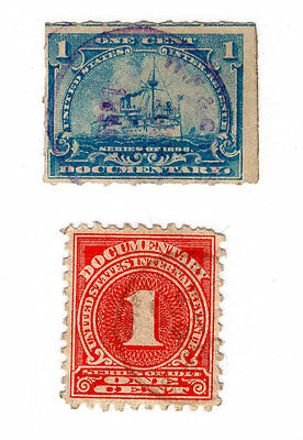 2 Used 1 Cent Documentary Stamps US Postage United States Blue, Red