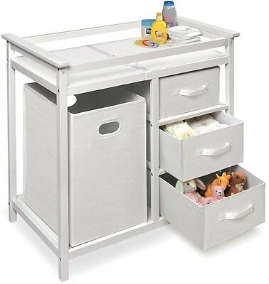 Diaper Changing Table Baby Furniture White With Drawers Nursery Room Storage