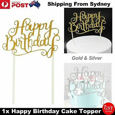 1x Cake Topper Happy Birthday Gold Silver Glitter Party Wedding Supplies DIY Dec
