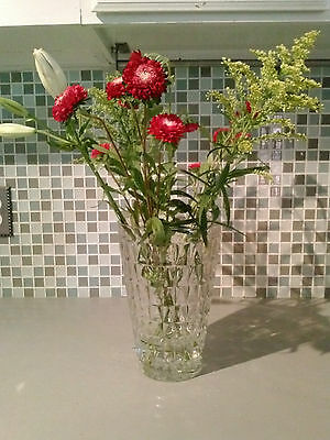 Vintage Large Clear Pressed Glass Flower Vase EO BRODY Cleveland Ohio USA!!!