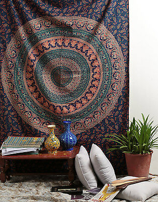Hippie Indian Tapestry Wall Hanging Elephant Mandala Twin Bedspread Throw