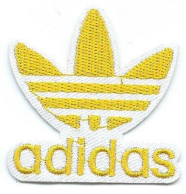 Yellow on White Adidas Leaf Embroidered Iron-on Patches Art Good Luck Magic