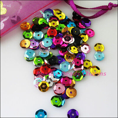 1200Pcs Round Loose Sequins Paillettes Sewing Wedding Mixed DIY 6mm