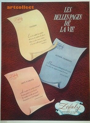 Original Vintage French Ad (1946): Zofaly Perfume Paris. Email Baril Dentifrice.