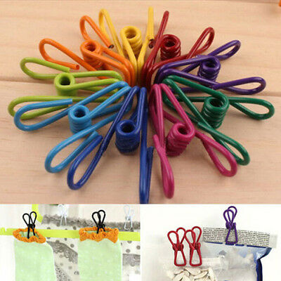 10Pcs Metal Clamp Clothes Laundry Hangers Strong Grip Washing  Pin Pegs Clips EF