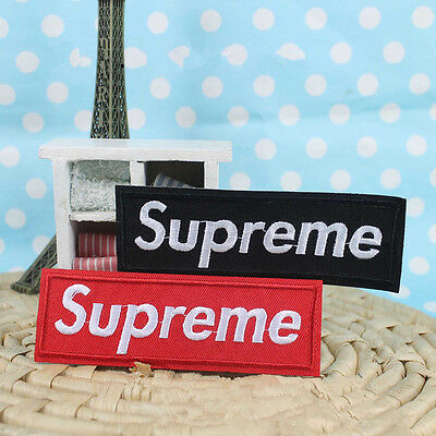 2 x Embroidered Supreme Iron / Sew on Patch Badge Bag Hat Jeans Fabric Applique