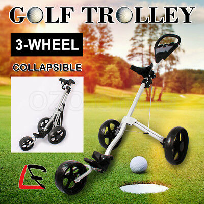 Foldable Golf Trolley Buggy Bag 360° 3-Wheel Swivel Lightweight Anti-shock AUS