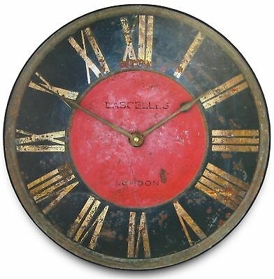"""36cm Striking Black and Red """"London Turret"""" Vintage Kitchen Wall Clock"""