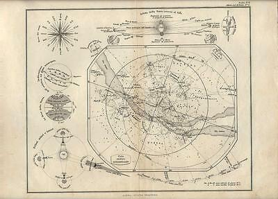 Carta geografica antica CIELO SETTENTRIONALE ASTRONOMIA 1876 Old antique map