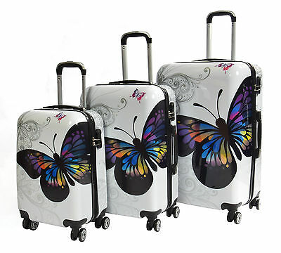 4 Wheel Travel Suitcase White Butterfly Print ABS Hardshell Luggage Lightweight