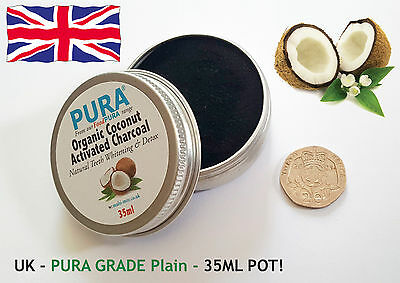 PURA® Fine COCONUT Activated Charcoal 35ML - Organic Teeth Whitening & Detox!!