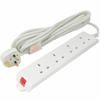 UK 4 Gang Way Extension Lead White Main 5M Trailing Cable Socket Surge Protected