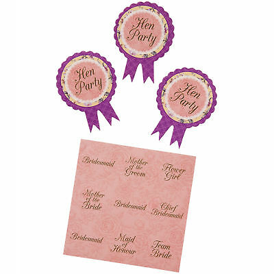 Badges x6 Hen Night Hen Party Wearables Mini Rosettes