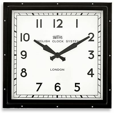 """41cm Black """"Smiths London"""" Square Contemporary Modern Style Wall Clock"""