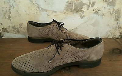 """VNTG 80s Hush Puppies Perforated Oxford Shoes 9.5 Men """"Breathin Brushed Pigskin"""""""