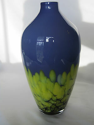 """Estate, Stunning Blue and Green """"Peacock"""" Art Glass Vase, Made in Poland"""