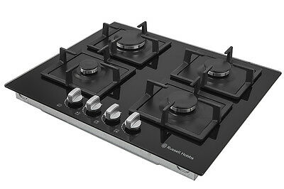 Russell Hobbs Glass hob with 4 Gas Burners, Manual Dial Control, RH60GH402B