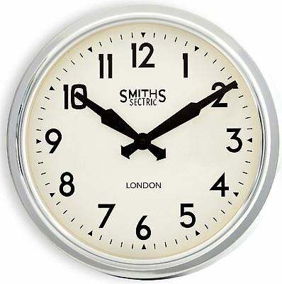 """38cm Bright Chrome """"Smiths London"""" Square Contemporary Modern Style Wall Clock"""