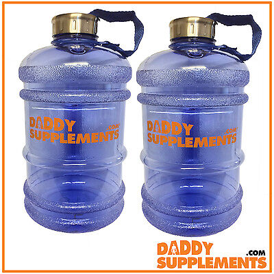 2 BPA Free Big Large Water Bottle Sports Gym Training Drink Cap Plastic Bottles