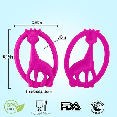 Baby Teether Giraffe Baby Toys BPA Free Food Grade Silicone FDA approved Pink
