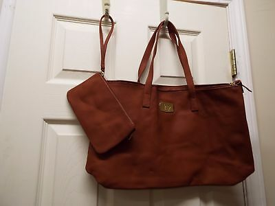 JOY Genuine Leather Smart Bag with RFID-Protected Clutch-Rich Cognac