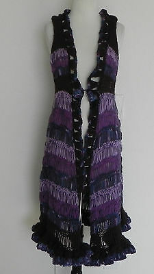 Hand Knitted Duster Sweater Multi-colored Open Style Sleevless Size S/M