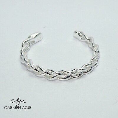 Silver Toe Ring (Solid 925 Sterling) Braided Adjustable Ladies New with Gift Bag