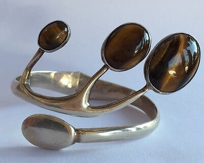 VTG Modernist Mexican Taxco Sterling Silver & Tiger Eye Cuff Clamper Bracelet