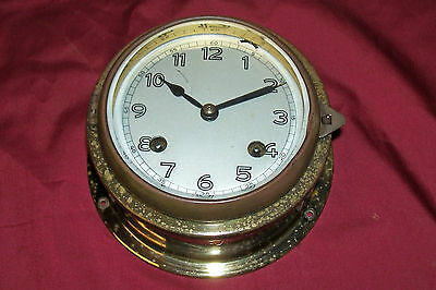 Old US Navy Ship's Clock USN Germany Nautical Vintage German Brass WWII Maritime