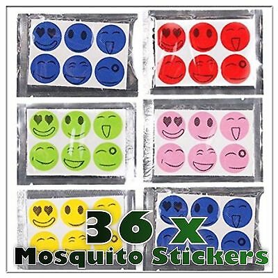 36 x Anti Mosquito Midges Bug Repellent Stickers Holiday Camping Smiley Face