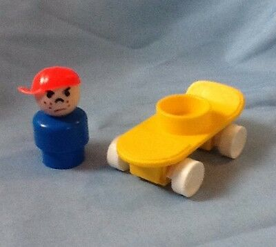 Vintage Fisher Price 1988 Little People Skateboard With Little Person Angry Boy