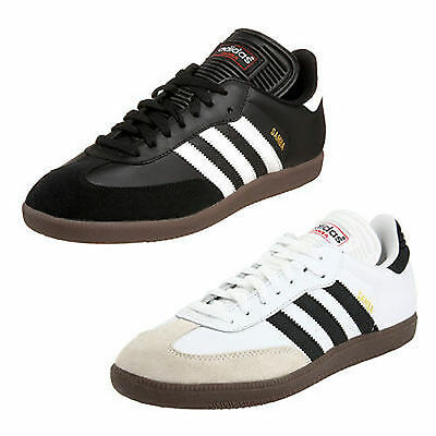 9e6645caee7b Adidas CLASSIC SAMBA Mens Leather Indoor Soccer Shoe   Black or White ALL  SIZES