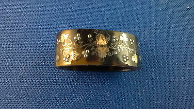 Antique Gold And Silver Inlaid Tortoise Shell Scarf Clip