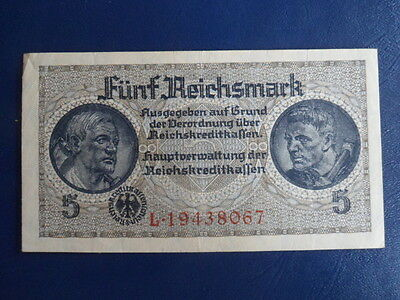 1941-45 Nazi German Occupied Territories 5 Reichsmark Bank Note-EF+ Cond.16-210