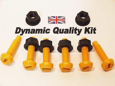6 Car Number Plate Yellow Nylon Screws Bolts Nuts Fixings Cherished Registration