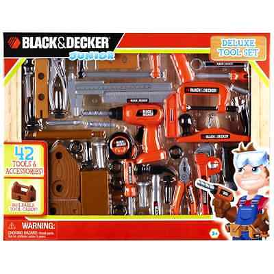 Black & Decker 90320 Junior Deluxe 42 PCS Toy Tool Set with Toolbox Kids Gift .