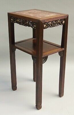 Antique Chinese Hardwood & Marble Table / Stand