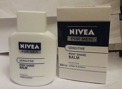 100% Nivea For Men Post Shave Balm 100ML for Sensitive ~ Soothes & Protects
