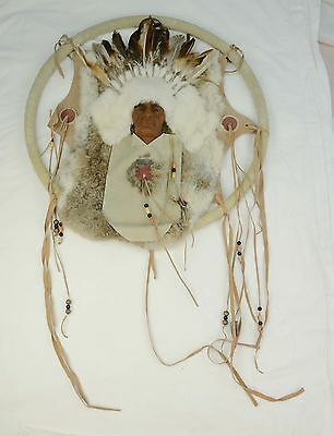 Crafted Native American Dream Catcher Beaded Mandala Feathers Leather Fringe L3Z