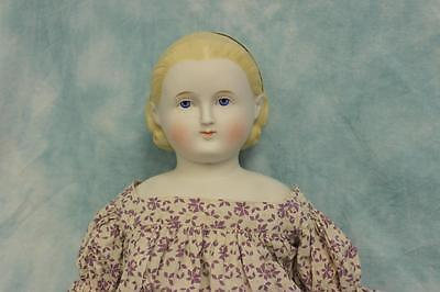 """26"""" Antique ABG Blond Parian Alice doll Painted headband Antique cloth body"""