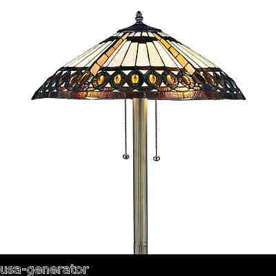 """Floor Lamp 2 Light Stained Cut Glass Tiffany Style Lighting 18""""  Shade Bronze F."""