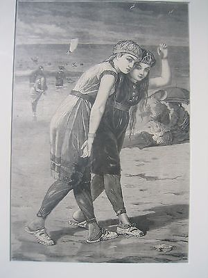 "Winslow Homer N.A., The Bathers,  Wood Engraving 1873 13 3/4""x 9 1/4""  Loose"