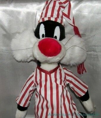 "NEW Rare 1997 LOONEY TUNES Plush Velvety BIG 24"" SYLVESTER The CAT w/Striped PJs"