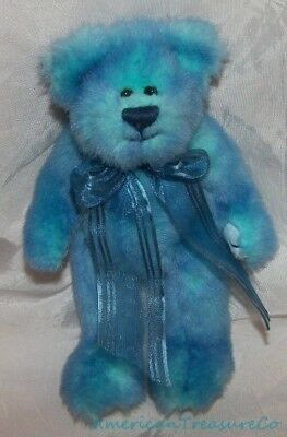 "Retired 1993 TY ATTIC Plush Jointed 8"" Shaggy AQUA BLUE AZURE The BEAR w/Bow"