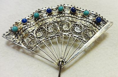 Vintage 800 Silver Filligree Fan Pin Brooch Pendant Blue & Turquoise Stones