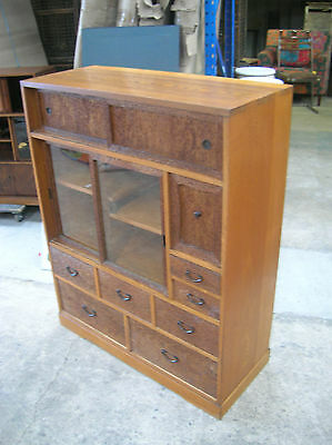 Antique Keyaki and Kiri Wood Tea Ceremony Cabinet Circa1930s Japanese #54